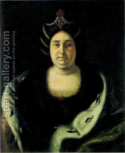 Tsarina Praskovia Fedorovna Saltikova, widow of Ivan V by Ivan Nikitich Nikitin - Reproduction Oil Painting