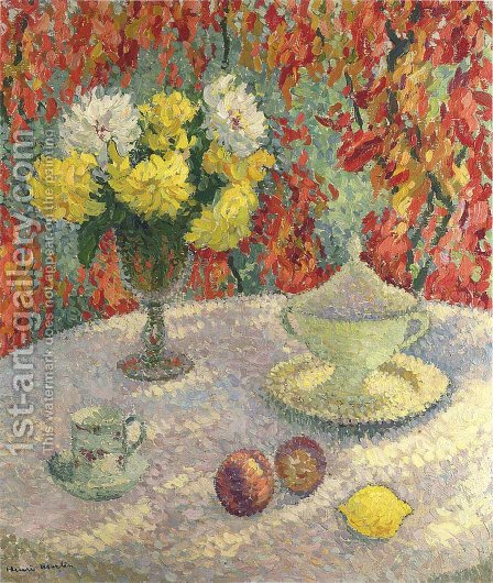 Dahlias in the Sun by Henri Martin - Reproduction Oil Painting