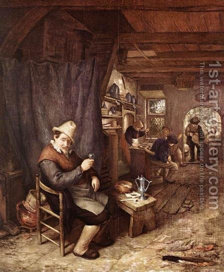 Drinking Peasant in an Inn by Adriaen Jansz. Van Ostade - Reproduction Oil Painting