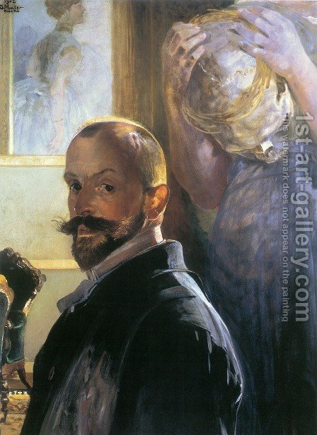 Self-portrait with skull by Jacek Malczewski - Reproduction Oil Painting