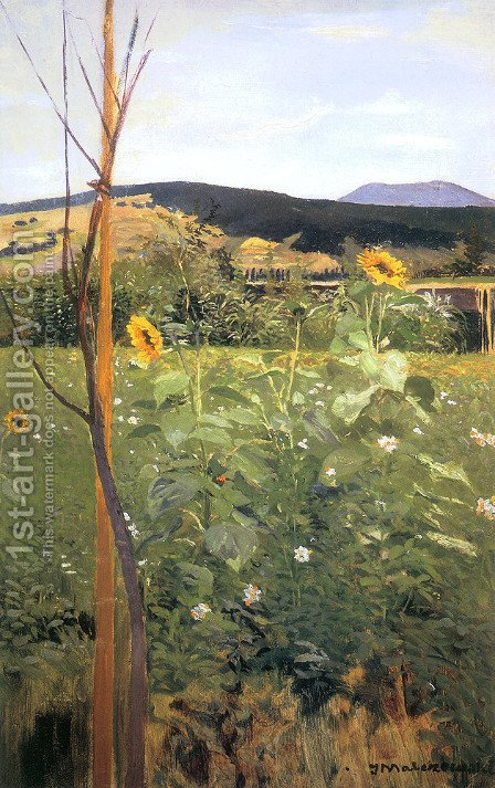 Sunflowers by Jacek Malczewski - Reproduction Oil Painting
