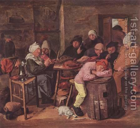 The Schlachtfest by Adriaen Brouwer - Reproduction Oil Painting