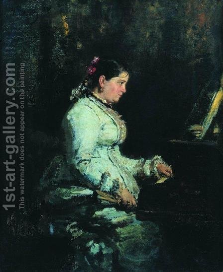 The piano. Portrait of S.V. Tarnovskaya by Ilya Efimovich Efimovich Repin - Reproduction Oil Painting