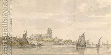 View of the Groote Kerk in Dordrecht from the River Maas by Aelbert Cuyp - Reproduction Oil Painting