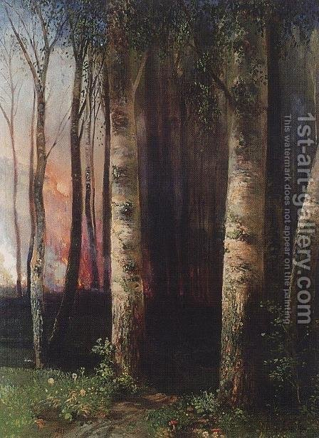 Fire in woods by Alexei Kondratyevich Savrasov - Reproduction Oil Painting