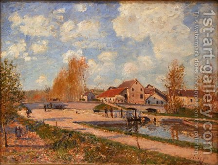 The Bourgogne Lock at Moret, Spring 2 by Alfred Sisley - Reproduction Oil Painting