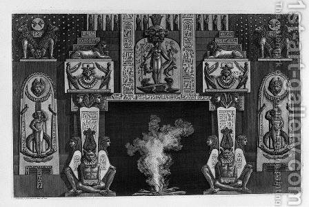 Fireplace Egyptian-style three seated figures on each side by Giovanni Battista Piranesi - Reproduction Oil Painting