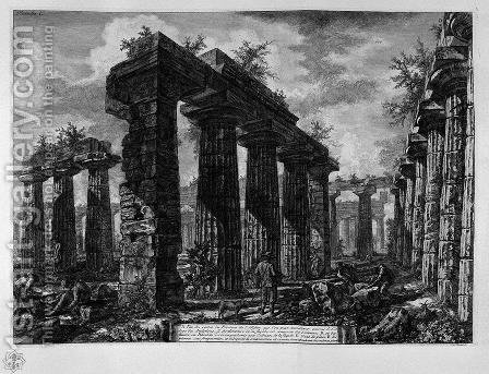 View the remains of the pronaos by Giovanni Battista Piranesi - Reproduction Oil Painting