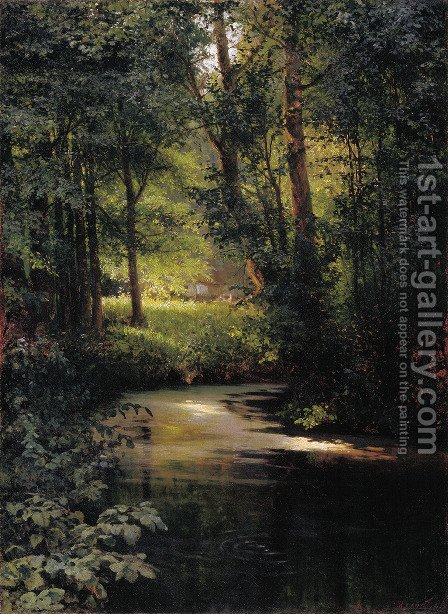 Creek in the forest by Grigori Grigorievich Mjasoedov - Reproduction Oil Painting