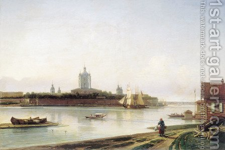 Smolny as seen from Bolshaya Okhta 2 by Aleksei Petrovich Bogolyubov - Reproduction Oil Painting