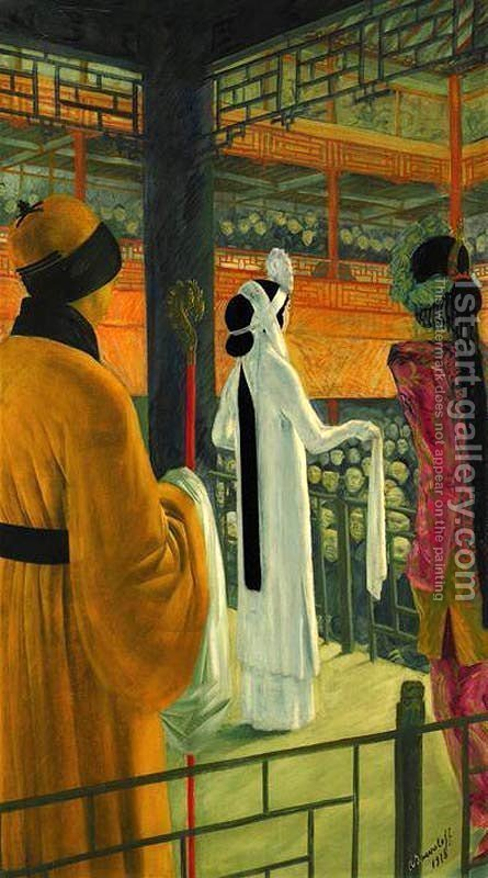 Beijing Opera by Alexandre Jacovleff - Reproduction Oil Painting