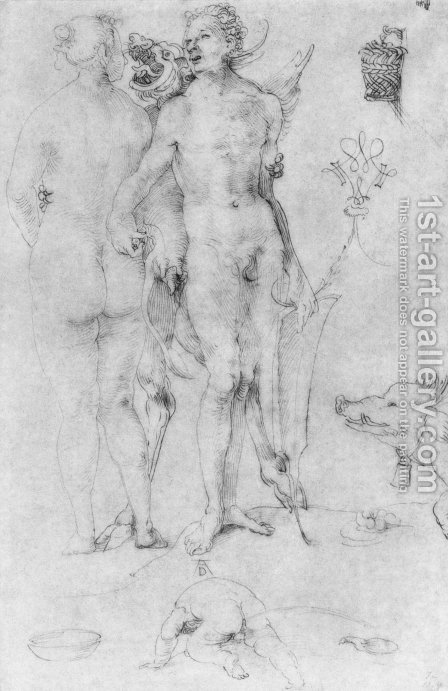 Study Journal, naked couple and the Devil by Albrecht Durer - Reproduction Oil Painting