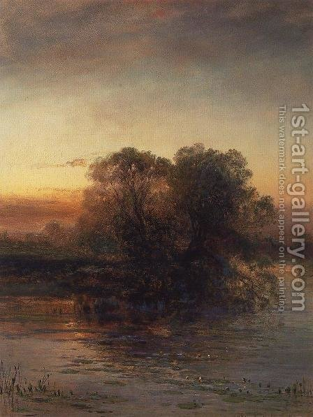 Pond at dusk by Alexei Kondratyevich Savrasov - Reproduction Oil Painting