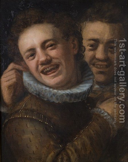 Two laughing men (double self-portrait) by Hans Von Aachen - Reproduction Oil Painting