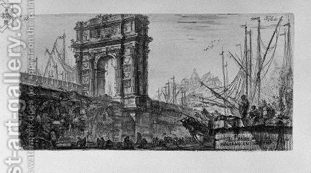 Reversal of the Temple of Pola in Istria, and other Temple by Giovanni Battista Piranesi - Reproduction Oil Painting