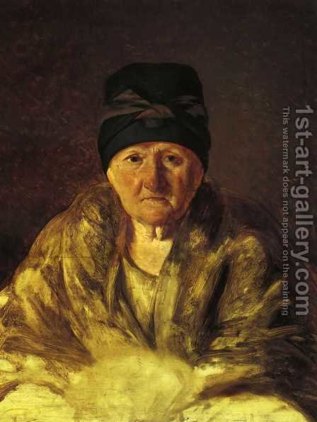 Old Nurse in Shlychkov by Aleksei Gavrilovich Venetsianov - Reproduction Oil Painting
