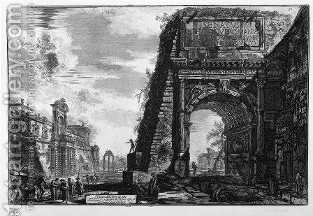 View of the Arch of Titus by Giovanni Battista Piranesi - Reproduction Oil Painting