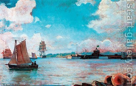 View of the Sea by Ioannis (Jean H.) Altamura - Reproduction Oil Painting