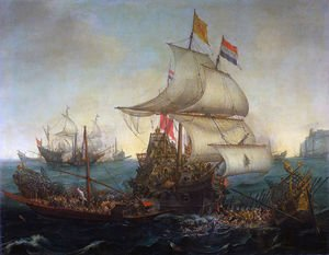 Famous paintings of Ships & Boats: Dutch Ships Ramming Spanish Galleys off the Flemish Coast in October 1602