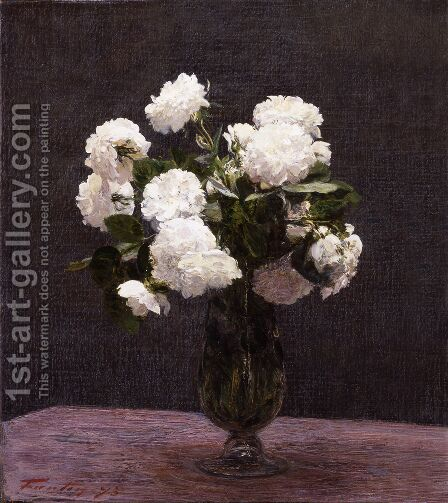 White Roses 3 by Ignace Henri Jean Fantin-Latour - Reproduction Oil Painting