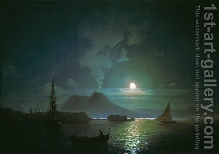 The Bay of Naples at moonlit night. Vesuvius by Ivan Konstantinovich Aivazovsky - Reproduction Oil Painting