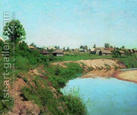 Village at the riverbank by Isaak Ilyich Levitan - Reproduction Oil Painting