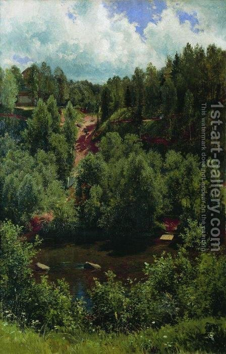 After the rain. Etude of the forest by Ivan Shishkin - Reproduction Oil Painting