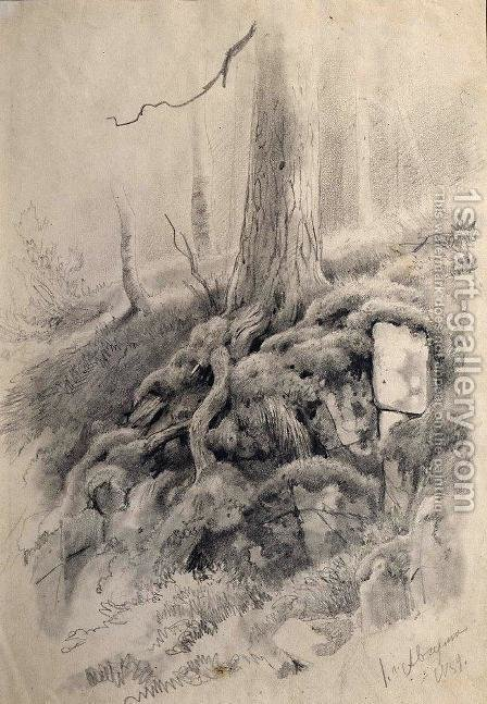 Tree roots by Ivan Shishkin - Reproduction Oil Painting