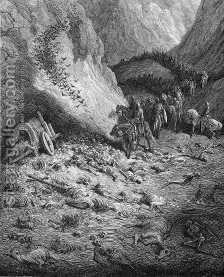 The army of the Second Crusade find the remains of the soldiers of the First Crusade by Gustave Dore - Reproduction Oil Painting