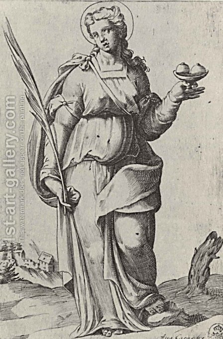 St. Agatha, from the episode Holy Women by Agostino Carracci - Reproduction Oil Painting