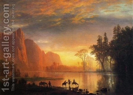 Yosemite Valley Sunset by Albert Bierstadt - Reproduction Oil Painting