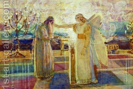 Archangel Gabriel struck Zechariah mute by Alexander Ivanov - Reproduction Oil Painting
