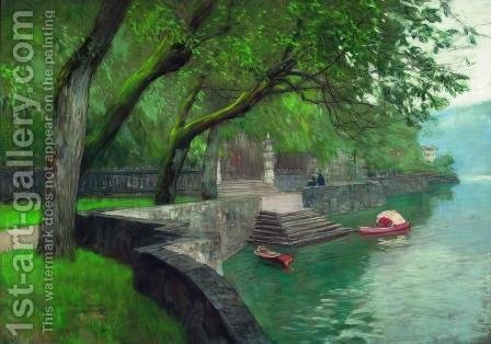 At the lake Como. Enbankment. by Isaak Ilyich Levitan - Reproduction Oil Painting