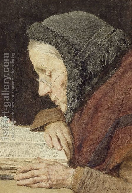 Altere Frau in der Bibel lesend by Albert Anker - Reproduction Oil Painting