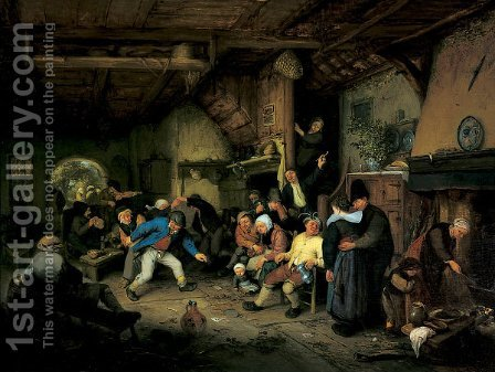 Peasants Dancing in a Tavern by Adriaen Jansz. Van Ostade - Reproduction Oil Painting