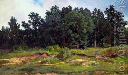 Oak grove in a gray day by Ivan Shishkin - Reproduction Oil Painting