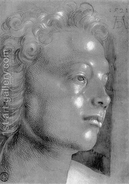 Studies on a great picture of Mary   head with curly hair (angel) by Albrecht Durer - Reproduction Oil Painting