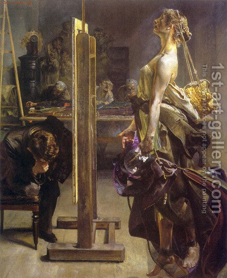 Painter's Inspiration by Jacek Malczewski - Reproduction Oil Painting