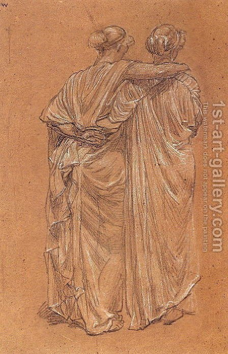 Study of Two Female Figures by Albert Joseph Moore - Reproduction Oil Painting