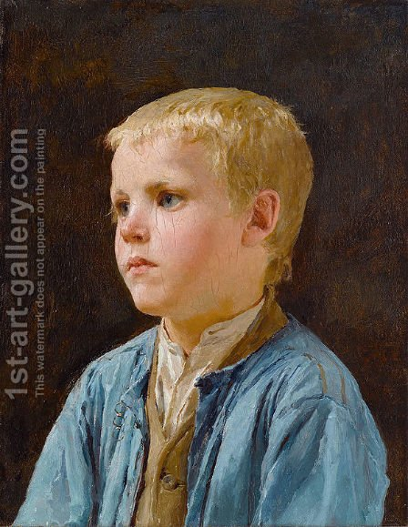 Portrait of a boy by Albert Anker - Reproduction Oil Painting
