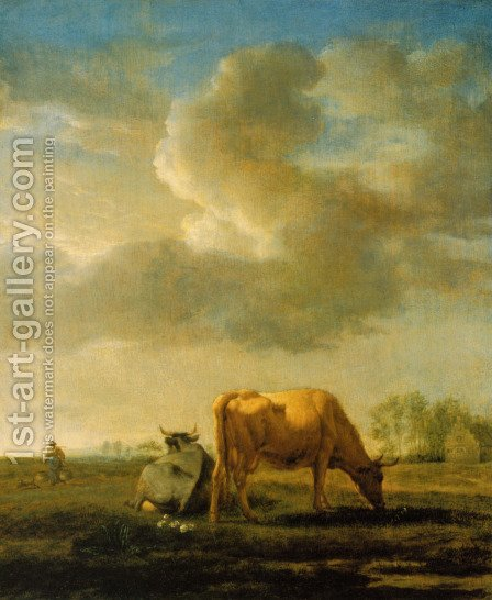 Cows on a Meadow 2 by Adriaen Van De Velde - Reproduction Oil Painting