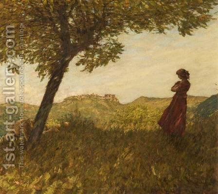 A Ligurian Shepherdess by Henry Herbert La Thangue - Reproduction Oil Painting