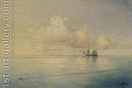 Landscape with a sailboat by Ivan Konstantinovich Aivazovsky - Reproduction Oil Painting