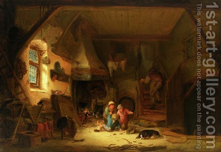 Interior with Children by Isaack Jansz. van Ostade - Reproduction Oil Painting