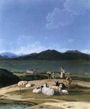 Wilhelm Von Kobell reproductions - View Of Lake Tegern