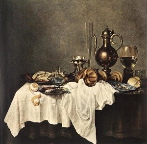 Famous paintings of Glasses: Breakfast of Crab  1648