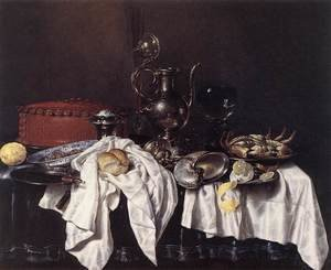Famous paintings of Desserts: Still-Life with Pie, Silver Ewer and Crab 1658