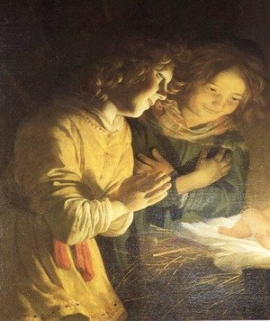 Reproduction oil paintings - Gerrit Van Honthorst - Adoration of the Child (detail) c. 1620