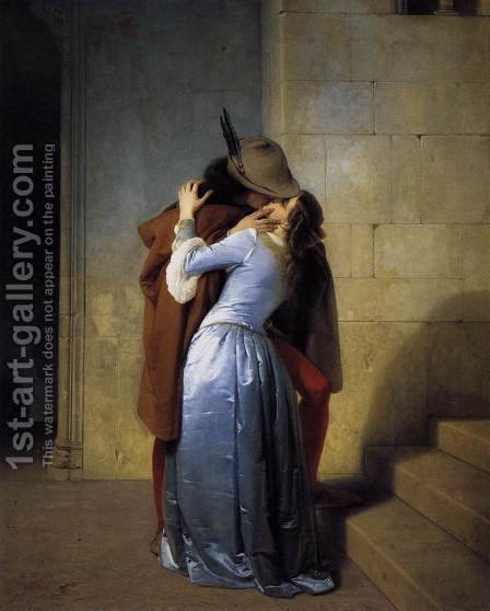The Kiss 1859 by Francesco Paolo Hayez - Reproduction Oil Painting