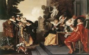 Famous paintings of Dogs: Music-Making Company on a Terrace c. 1620